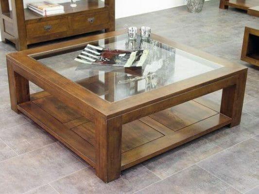 Mẫu bàn gỗ mặt kính – Ảnh: pinterest.com