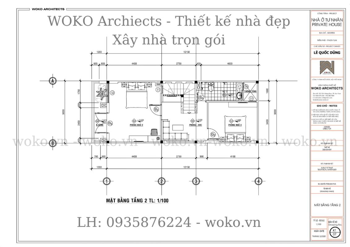 Mặt bằng tầng 2 - Thiết kế nhà ở Kon Tum