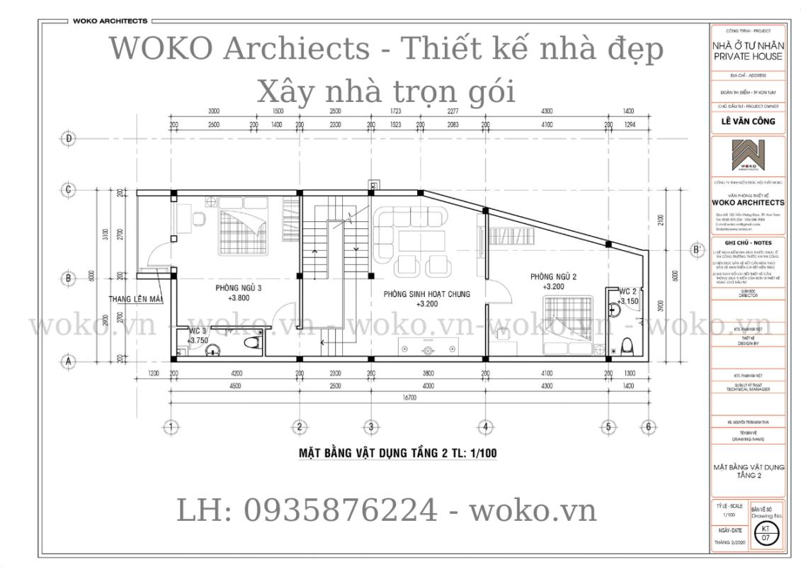Mặt bằng lầu 1 nhà ống lệch tầng hiện đại 6x16 tại Kon Tum