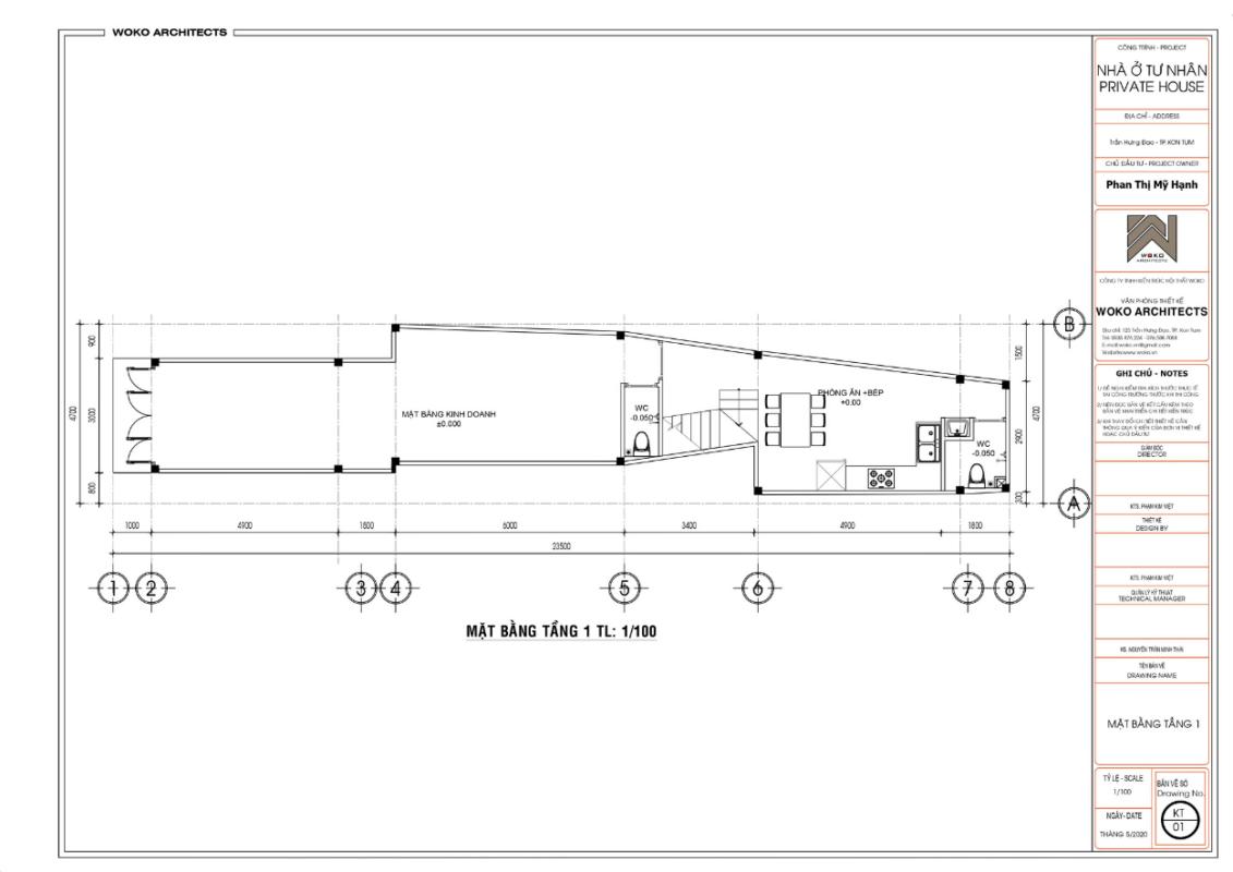 Mặt bằng tầng 1 - Thiết kế nhà phố hiện đại