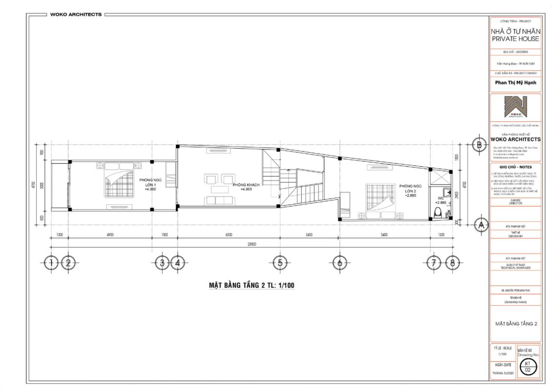 Mặt bằng tầng 2 - Thiết kế nhà phố hiện đại