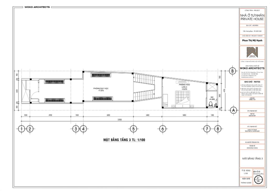 Mặt bằng tầng 3 - Thiết kế nhà phố hiện đại