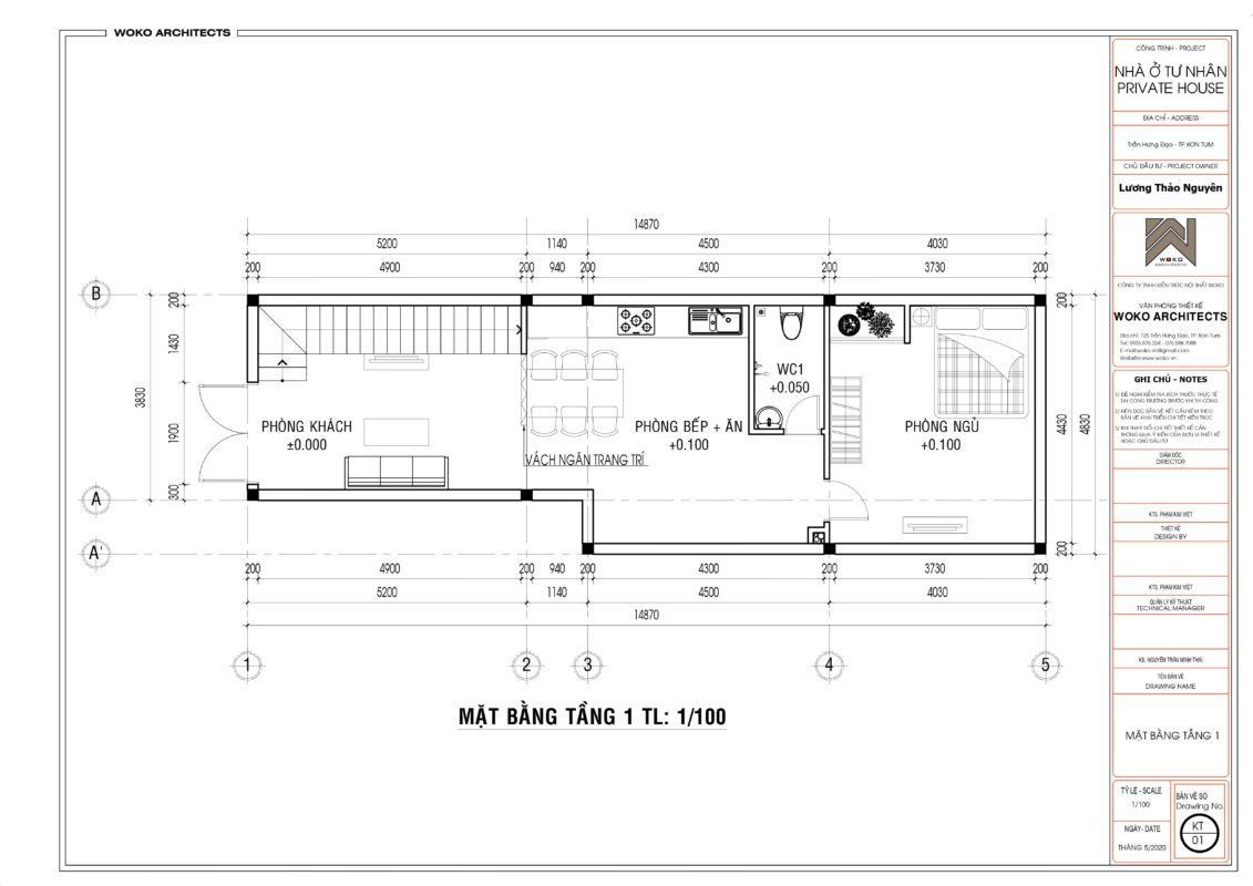 Mặt bằng tầng 1 nhà 4x14 - Thiết kế nhà 2 tầng ở Kon Tum