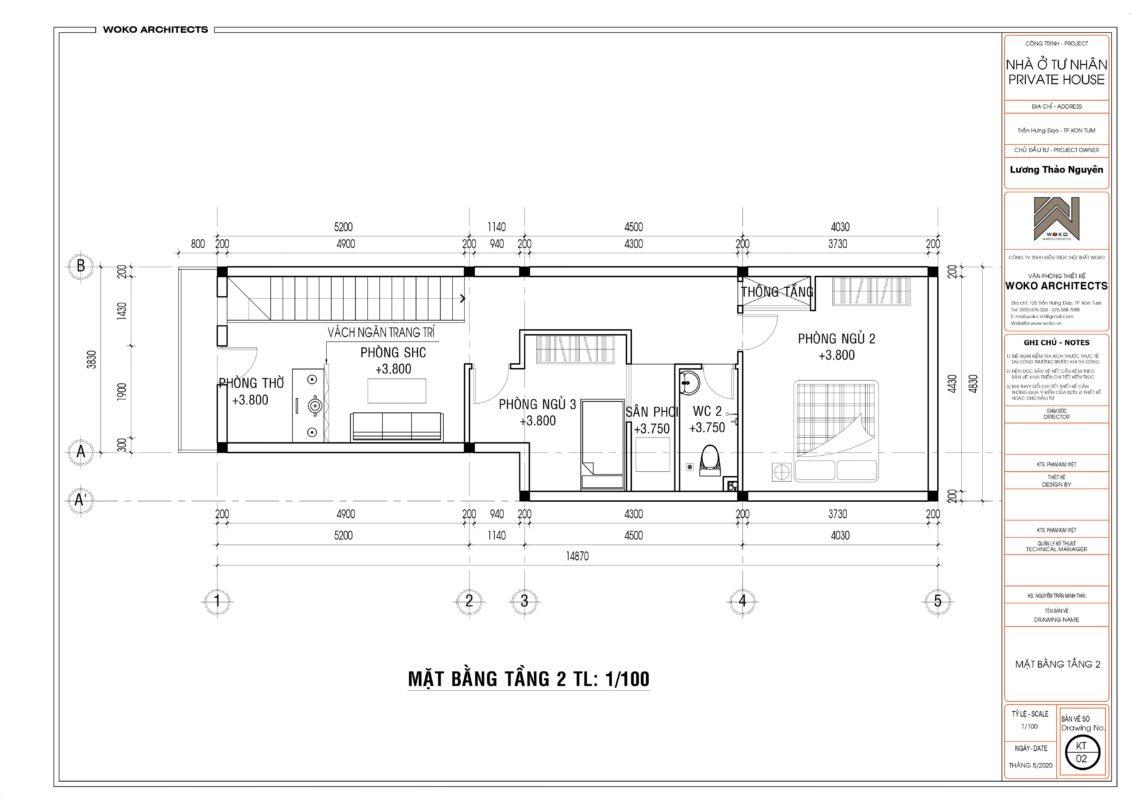 Thiết kế nhà 2 tầng ở Kon Tum - Mặt bằng tầng 2