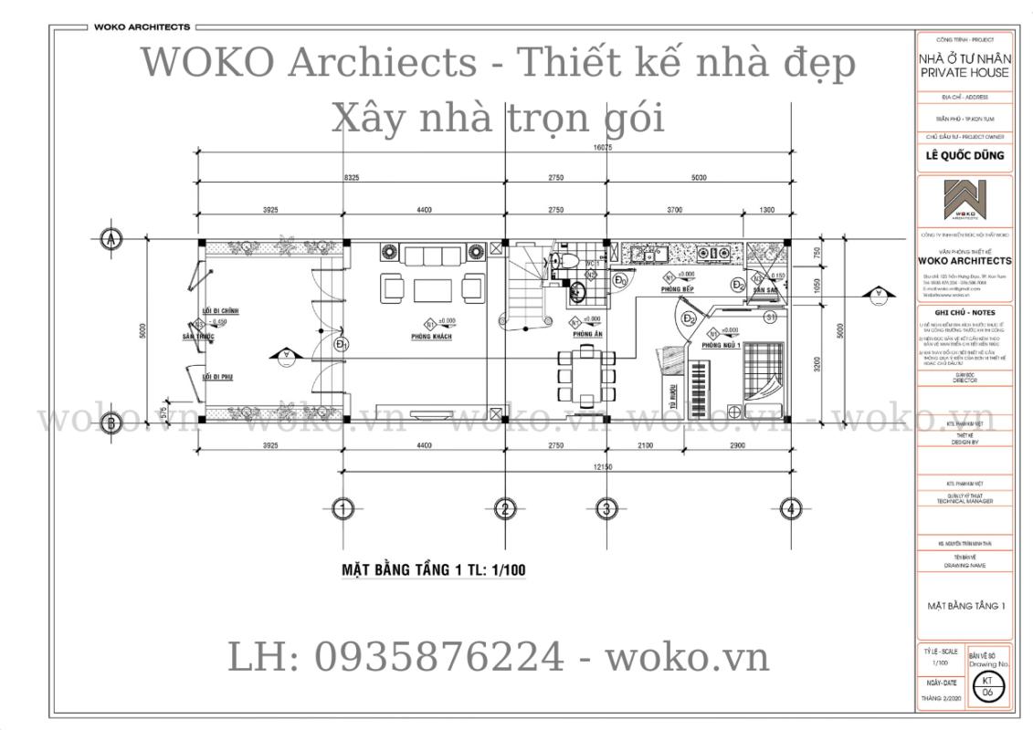 Mặt bằng tầng 1 - Mẫu thiết kế nhà ở Kon Tum