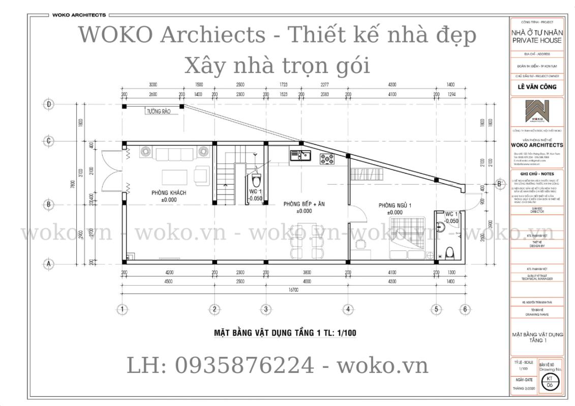 Mặt bằng tầng trệt nhà ống lệch tầng hiện đại 6x16 tại Kon Tum